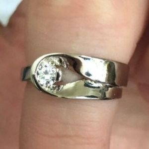 STAMPED925 STERLING WHITE SAPPHIRE RING